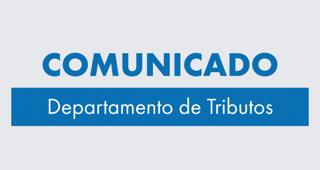 Comunicado do Depto. de Tributos